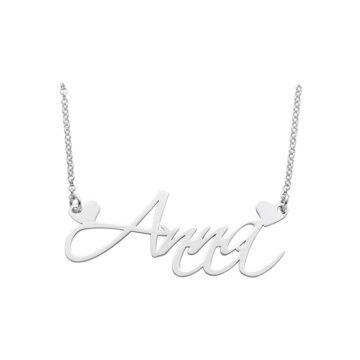 Collana in argento 925 nome personalizzato corsivo e cuoricini