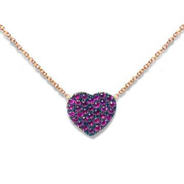 Collana Cuore con rubini in Oro 18kt