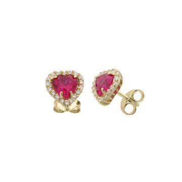 Coppia di orecchini Cuore in Oro 18kt con Pave Zirconi e Pietra